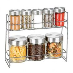 """Glass Canister Spice Jar Set. [countdown]3/27/2017 03:00[/countdown]Spice up your counter top with this convenient Glass Canister Spice Jar Set featuring an attractive chromed metal rack with 9 lidded canisters. Includes 5 spice jars and 3 larger canisters. Spice jars have metal lids with swivel tops and variously sized holes and larger canisters have solid metal lids. Spice jars measure approximately 3.25"""" tall x 2"""" in diameter and canisters measure approximately 4"""" tall x..."""
