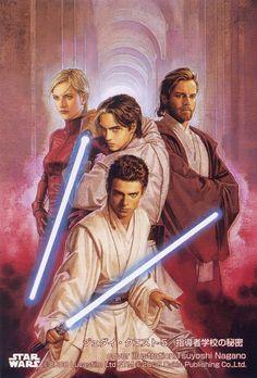 Jedi Masters Siri Tachi and Obi-Wan Kenobi with their padawans Ferus Olin and Anakin Skywalker. (Cover book by Tsuyoshi Nagano)