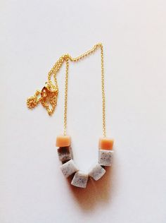Geo Necklace in Granite & Pale Pink.