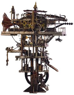 This is the completed Steampunk ship deep space oil recovery helicopter and mono pod oil refinery  Image Credit: LIJA   http://www.lija.us