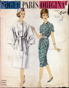 Vintage Paris Orginal by Gres 1960s Pattern Coat and Dress Vogue 1483