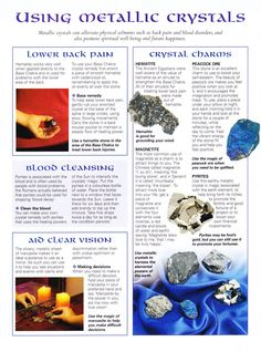 Crystals Stones: MBSC #Crystals ~ Using Metallic Crystals. - Pinned by The Mystic's Emporium on Etsy