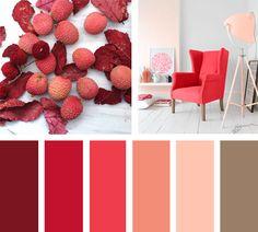 Rojos y rosas, colores que nos hacen pensar en una puestade sol son llevados aun espacio limpio y chic.  Espacio via Etsy