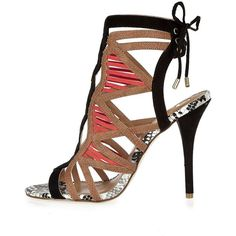 River Island Orange caged tie back heeled sandals (€86) ❤ liked on Polyvore featuring shoes, sandals, strappy heel sandals, orange shoes, stiletto sandals, high heel shoes and orange high heel sandals