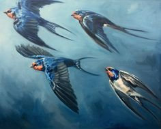 Flight of Swallows, original oil Painting of Barn Swallows by Canadian Artist Kindrie Grove by KindrieGroveStudios on Etsy