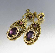 Vintage Art Deco Czech Glass Dangle Earrings   #Gold #Earrings #Glass #Dangle #Czech #Art #Vintage #Deco #intage #9K
