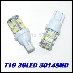 50pcs/lot + T10 W5W 30led led light 168 194 t10 30led 3014SMD LED Bulb Lamp White Color  Indicator Light Parking Lamps White