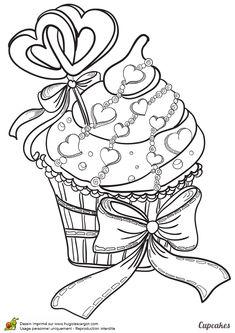 Coloriages cupcake coeurs et rubans