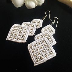 WHITE BEADED macrame earrings. Lets be UNIQUE ✨ Designed and made by me handmade limited pair ✔️ these shiny earrings will always attract a lot of attention ✔️handmade pair is good choice for wedding occasion if you want to make your style more modern than classic ✔️these macrame