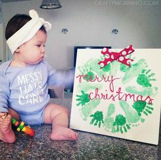 Christmas Crafts for infants Handprint/Footprint Christmas Wreath Craft - Crafty Morning Baby Christmas Crafts, Babies First Christmas, Christmas Projects, Kids Christmas, Holiday Crafts, Holiday Fun, Christmas Wreaths, Merry Christmas, Christmas With Baby