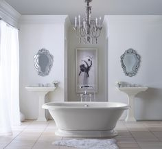 Shown here in Dune, the freestanding bath and pedestal sinks offer a cool, subtle hue.