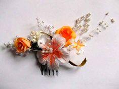 Pieptan cu flori artificiale galbene si portocaliu cu alb, pieptan mireasa 34781 – Cadouri HandMade Brooch, Jewelry, Fashion, Bead, Moda, Jewlery, Jewerly, Fashion Styles, Brooches