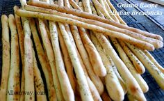 Grissini - crunchy Italian breadsticks are simple to make and are great as an appetizer or snack - season them your way@allourway.com