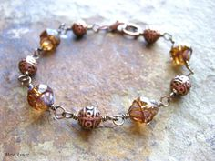Peach Picasso Turbine Beads, Fancy Antiqued Copper Beads, Wire Wrapped Czech Glass and Copper Bracelet