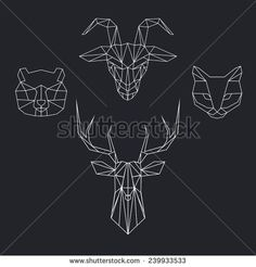 unique Geometric Tattoo - Cat Vecteurs de stock et clip-Art vectoriel