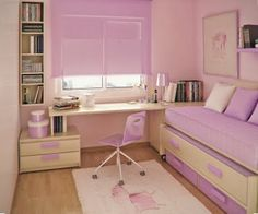 Study Room Decor, Small Room Decor, Room Ideas Bedroom, Small Room Bedroom, Bedroom Decor, Small Teen Bedrooms, Small Teen Room, Pastel Room, Small Bedroom Designs