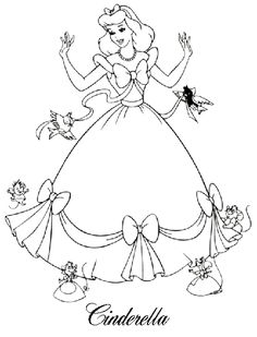 disney coloring pages cinderella 1 - Disney Coloring Pages For Kids Printable 2