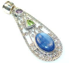 $71.25 Passion African Kyanite Sterling Silver Pendant at www.SilverRushStyle.com #pendant #handmade #jewelry #silver #kyanite