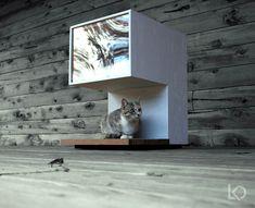 modern cat DIY Cat House: Fashionable Minimalism for Feline Loft Living Cat Design, House Design, Niche Chat, Cat House Diy, Carpet Cover, Cat Playground, Pet Furniture, Woodworking Furniture, Handmade Furniture