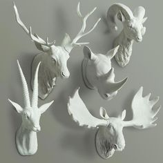 Animal Head Bust Wall Decor - Deer, Buck, Rhino, Antelope Bust, Moose #bust #decor #decoration Más