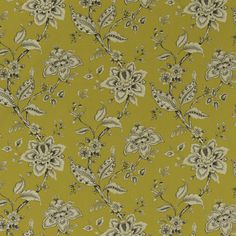 Palampore Chartreuse featuring a jacobean floral pattern from our Eden collection by Clarke & Clarke Usa Wallpaper, Fabric Wallpaper, Pleated Curtains, Curtains With Blinds, Linen Fabric, Cotton Linen, Clarke And Clarke Fabric, Made To Measure Blinds, Blinds For You