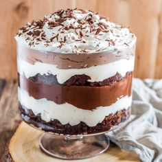 Layers of chocolate brownies, pudding and whipped cream make this Brownie Trifle an impressive (yet easy) and delicious dessert.