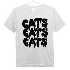 Cat T-shirt - Black on White - Cats Cats Cats Drippy Slime Kawaii Grunge