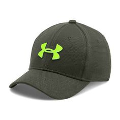 Under Armour Blitzing II Stretch Fit Cap for Kids - Fitted Caps, Under Armour, Baseball Hats, Boys, Fitness, School Days, Outfits, Green, Products