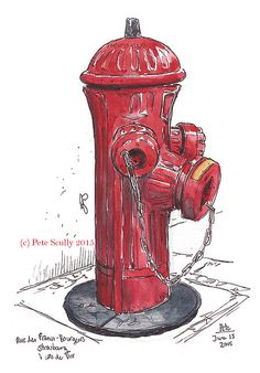 sketching fire hydrants in strasbourg is cool