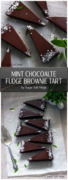 Mint Chocolate Fudge Brownie Tart is chocolate brownie in a chocolate cookie shell, topped with chocolate and all three spiked with mint. via Sugar Salt Magic