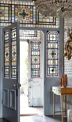 What a door~ I will do something like this for my house.replace the half moon window above the front door with stained glass. Stained Glass Door, Windows And Doors, Front Doors, Entry Doors, Front Windows, My Dream Home, Interior And Exterior, Interior Doors, Interior Design