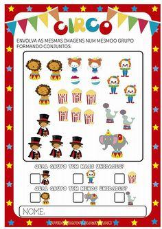 Preschool Math, Preschool Worksheets, Kindergarten, Circus Party, A30, Pre School, Free Printables, Acting, Homeschool