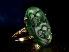 1920-30s Art Deco Carved Chinese Jade Ring