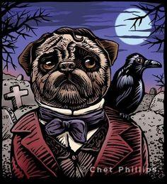 Edgar Allan Pug by ChetArt on Etsy.