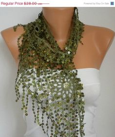 BIG SALE Sequin Scarf Floral  Women Shawl Scarf  by fatwoman, $14.00