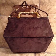 """Vintage Rush Hour Suede Crossbody Bag Vintage brown Crossbody bag. Removable straps to convert to handle held. 7"""" height. 8.5"""" at widest with. Minor wear above snap closure. Shown in pic. Rush Hour Bags Crossbody Bags"""