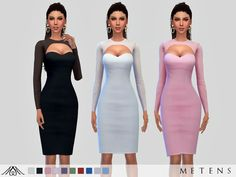 Plain dress with transparent long sleeves, neck and back  Found in TSR Category 'Sims 4 Female Everyday'
