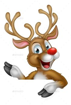 Buy Christmas Reindeer Cartoon Character by Krisdog on GraphicRiver. Cute cartoon Christmas reindeer pointing at a sign Christmas Rock, Cottage Christmas, Christmas Gift Tags, Christmas Design, Christmas Crafts, Christmas Ornaments, Christmas Time, Cartoon Reindeer, Red Nosed Reindeer