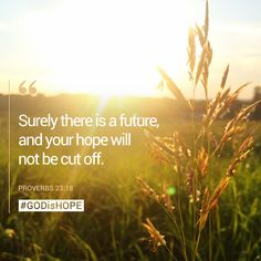 Surely there is a future, and your hope will not be cut off. - Proverbs 23:18 #GODisHOPE #Hope #Proverbs