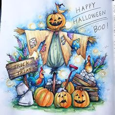 Getting into the Halloween spirit early with this cute page from Coloring Book Art, Colouring Pages, Adult Coloring, Halloween Artwork, Halloween Drawings, Scarecrow Drawing, Drawing Images For Kids, Country Halloween, Pretty Drawings