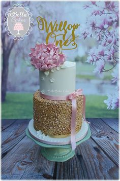 Gold sequin cake with pink peony - by Bella Bakes Cakes Baby First Birthday Cake, Birthday Cakes For Women, Happy Birthday Cakes, Birthday Cake Girls, Pink Christening Cake, Peony Cake, 40th Cake, Girly Cakes, Dream Cake