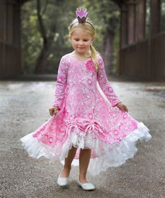 71bc649ef1b4 Mia Belle Baby Pink Paisley   White Lace-Hem Ella Dress - Toddler   Girls  by Mia Belle Baby