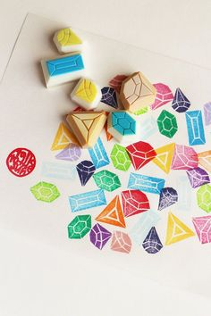 gemstone rubber stamp set. diamond hand carved rubber stamp. diy wedding/ birthday/ christmas. gift wrapping/ craft projects. set of 6