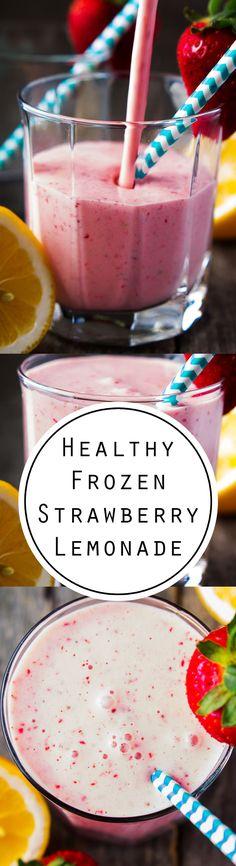 HEALTHY FROZEN STRAWBERRY LEMONADE -Frozen strawberry lemonade made with fresh, ripe strawberries, meyer lemons, greek yogurt and stevia. If fresh strawberries are out of season, I use whole frozen strawberries. The berries and yogurt could be frozen together as a make ahead option.