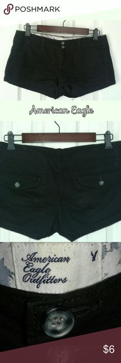 """Black American Eagle Shorts Short stretch shorts by AE that are super soft amd comfy. 16"""" across waist front laying down. 8"""" from top to bottom hem in front and 10.5"""" from top to bottom on back. Front slash pockets, no cuffs on bottom. American Eagle Outfitters Shorts Jean Shorts"""