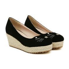 Sweet Style Cat Embroidery and Weaving Design Women's Wedge Shoes (BLACK,39) in Wedges   DressLily.com