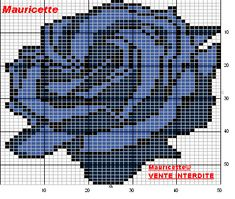 Blue Rose needlepoint / cross stitch pattern