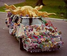 Art car decorated with Mardi Gras beads