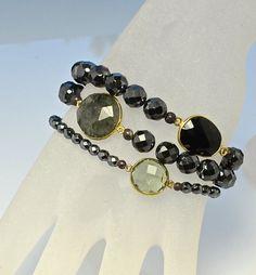 LP 1245 Three Stretchy Hematite Bracelets por laurapaulinedesigns
