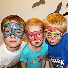 Learn easy steps to face paint these superhero masks. Just in time for Halloween.